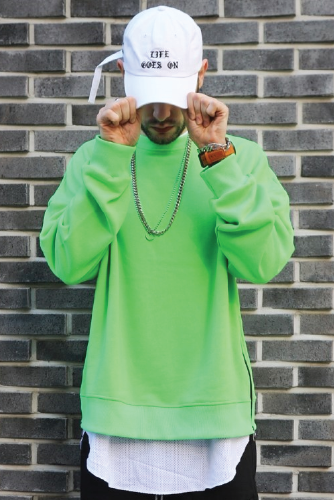 LAUL NEON SIDE ZIPPER OVER FIT CREWNECK LIME 라울 사이드지퍼 오버핏 형광 맨투맨 라임