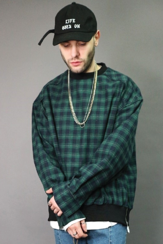 LAUL OVER FIT FLANNEL CREWNECK SHIRTS GREEN & NAVY 라울 오버핏 플란넬 맨투맨 셔츠 그린 & 네이비