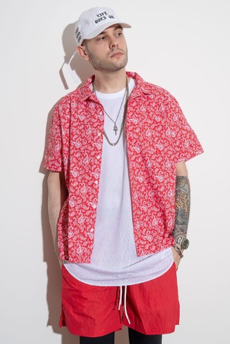 LAUL PAISELY SHORT SLEEVE SHIRT RED 라울 페이즐리 반팔 셔츠 레드