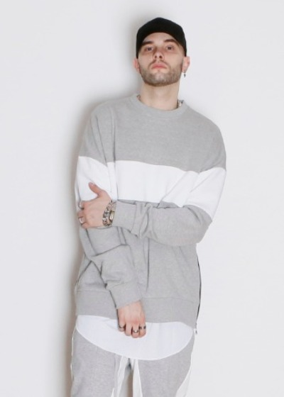 LAUL OVER FIT TWO TONE CREWNECK GRAY 라울 사이드지퍼 오버핏 투톤 맨투맨 그레이